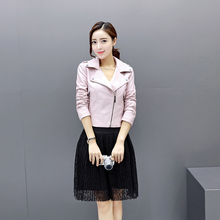 2017 New Spring Black Pink Fashion Slim Faux Leather Jackets Short Motorcycle PU Jacket All-match Coat