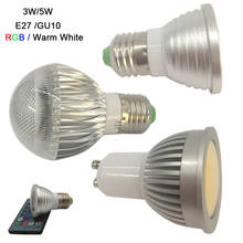 цены Free Shipping 3W E27 GU10 RGB LED Bulb Light 16Color LED lamp&IR remote;5W warm white LED COB Spotlight for Party Decoration