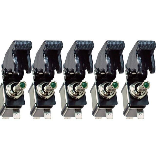EE support 5 Pcs Carbon Fiber LED Light Switch SPST 12V 20A Toggle ...