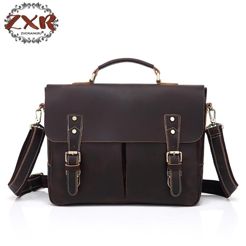 лучшая цена vintage Crazy Horse Genuine Leather Men Shoulder Bag Leather Messenger Bag Men Laptop Bag Tote Handbag Male Crossbody Bag Sling