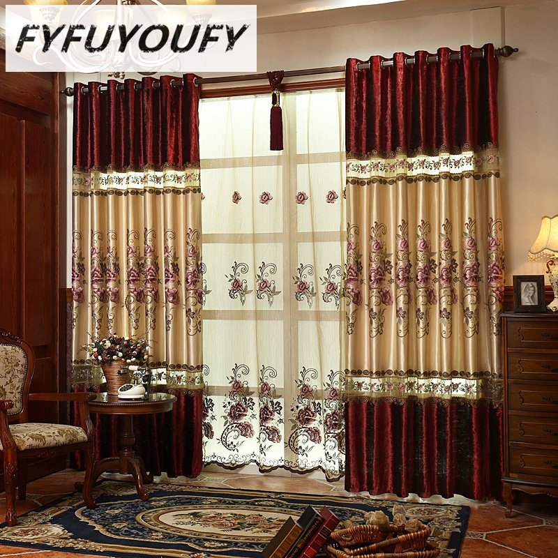 FYFUYOUFY high quality velvet curtain for living room Floral embroidered tulle curtains for bedroom stripe blackout curtains