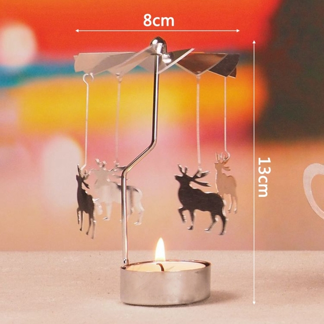 Rotary Spinning Tealight Candle Metal Tea light Holder Carousel Home Decor Christmas Gift 2