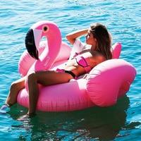 Dev Pembe Şişme Flamingo 60 Inç Yatak Havuzu Yüzen Ada Yüzme Daire Binmek-on Plaj Yatak Su Oyuncakları Parti Boia