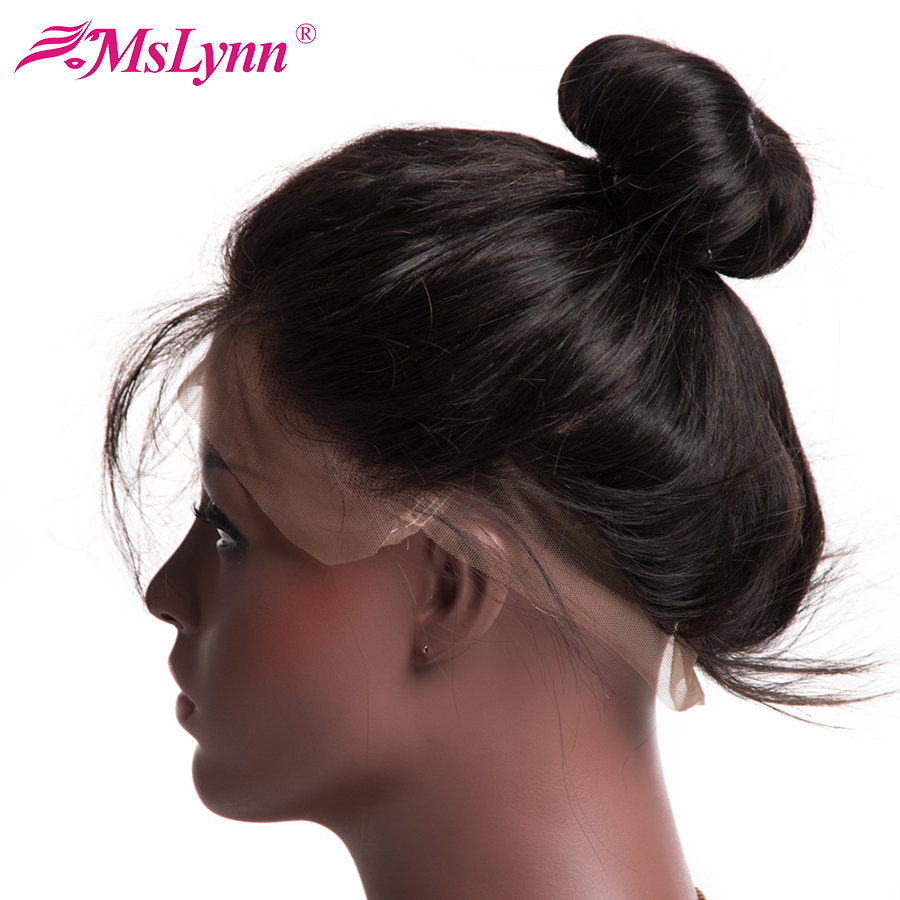 "Mslynn Pre Plucked 360 Lace Frontal Closure Med Baby Hair Free Del 8 ""-22"" Non Remy Human Hair Peruvian Straight Closure"
