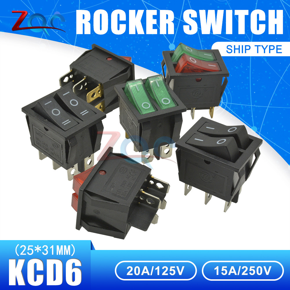 5 Pcs Lamp 4 Pin ON//OFF 2 Position DPST Rocker Switch 16A//250V KCD4-201 Green SM
