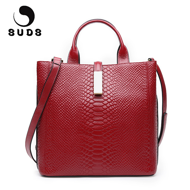 SUDS Genuine Leather Serpentine Bag Female Leather Luxury Handbags Women Bags Designer Bolsa Feminina Ladies Shoulder Bags 2017 designer women handbags black bucket shoulder bags pu leather ladies cross body bags shopping bag bolsa feminina women s totes
