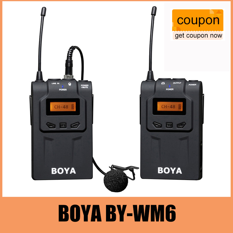 BOYA BY-WM6 UHF Professional Omni-Directional Lavalier Wireless Microphone Recorder System for ENG EFP DV DSLR Camera Camcorders professional directional stereo microphone 1 x cr2