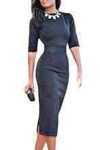 2017 New women casual work dress half sleeve high waist print bodycon midi dress hot elegant office dress comfort to wear 61355