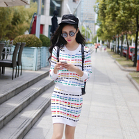 2014 New Knitted Suit Set 2 Striped Colorful Casual Sweater Dress For Women Long Sleeve Crochet