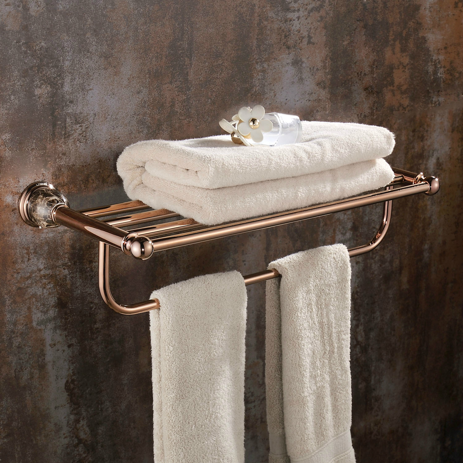 Rose Gold Towel Shelf Wall Mount Bathroom Accessories European Solid Brass Towel Rack Holder Vintage Marble Base Polished jy-0