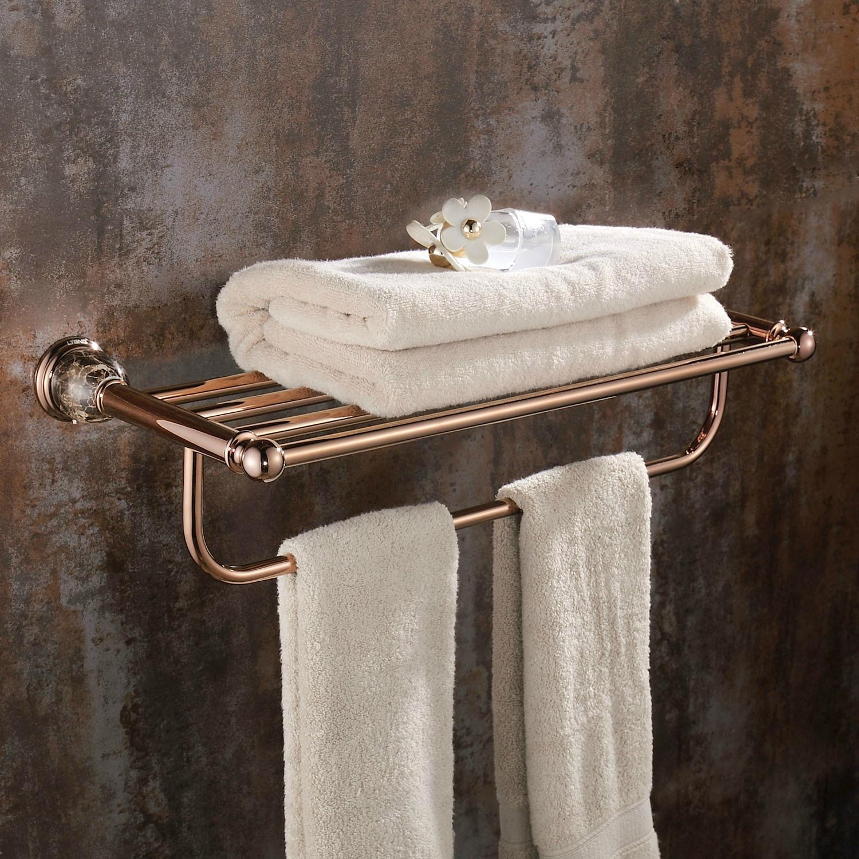 Rose gold towel shelf wall mount bathroom accessories european solid brass towel rack holder vintage marble base polished jy 0 in bathroom shelves from home