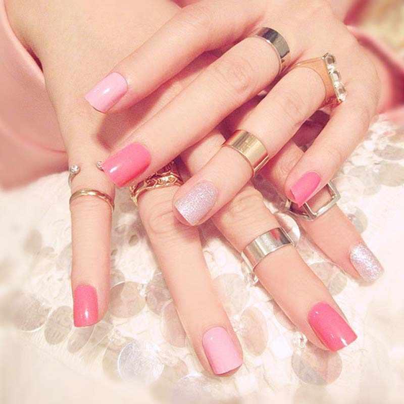 24 Udsen Caja Dulce De Color Rosa Uñas Postizas Pulse En Uñas Damas Brillo Uñas Postizas Corto Tamaño De La Cubierta Completa Las Uñas Con