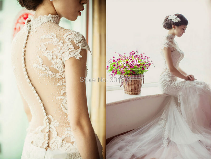 Oumeiya Ow322 Custom Made Lace Liques Bare Back Long Tail Y Mermaid Beach Wedding Dresses 2016 In From Weddings Events On
