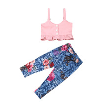 New 2019 Summer Kids Baby Girl Sling Ruffle Short Tops Sleeveless Strap T shirt Floral Long Pants Outfit Clothes Set 2019 все цены
