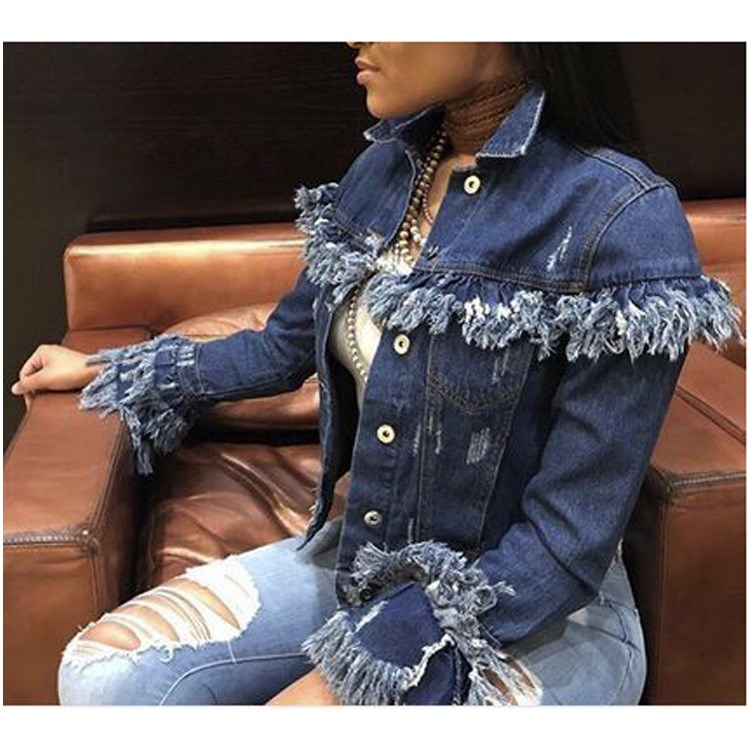 Fashion 2019 Women Vintage Jeans   Jacket   Woolly Tassels Broken Denim Coats Feminina Short   Basic     Jackets