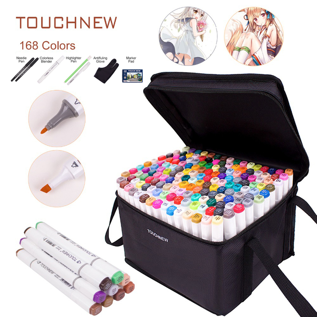 TOUCHNEW Manga 30 40 60 80 168 Colors Dual Head Art Marker Alcohol Based Markers Sketch Pen Drawing Art Set For Student Manga