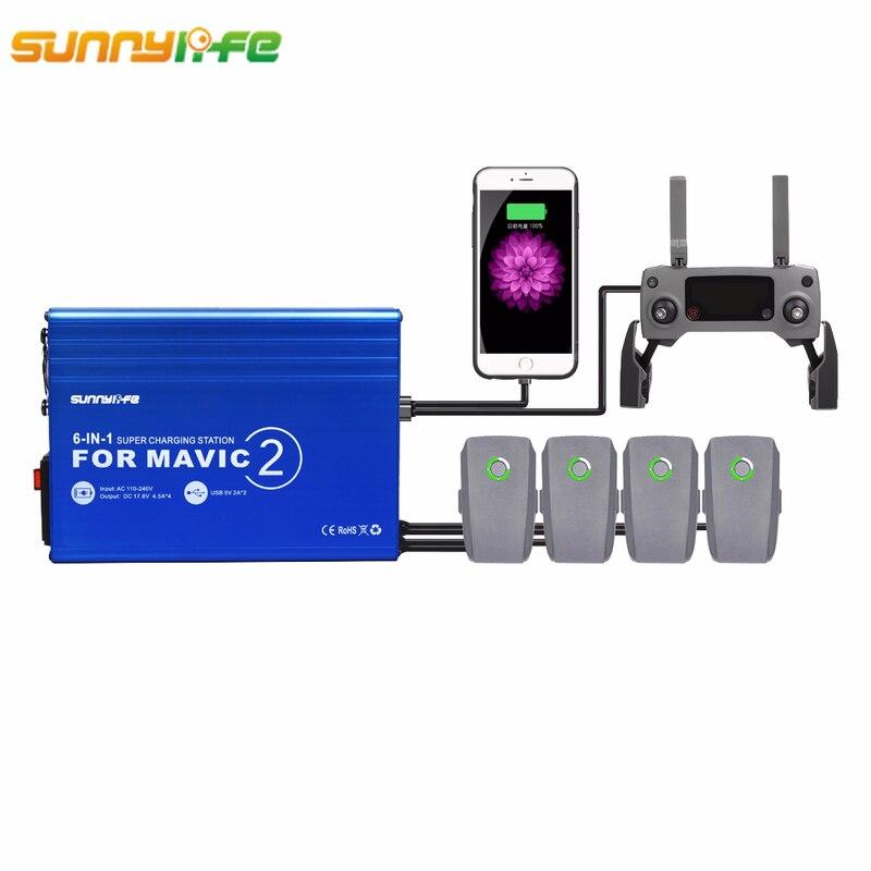 Sunnylife DJI MAVIC 2 Pro 6In1 Rapid Intelligent Multi Battery Controller Charger Hub with 2 USB Ports For DJI MAVIC 2 Pro Zoom цена