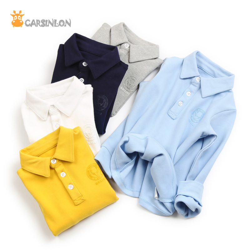 2018 Autumn Winter New High Quality Boys Polo Shirts Long Sleeved Cotton Thick Turn-Down Collar Kids Polo Shirt Tops Tees White все цены