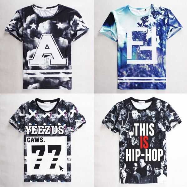 New fashion mans HBA/swag tops tees letter print homme femme/YEEZY 77 t shirt hip hop clothes men t shirt camisetas