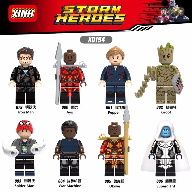 Supergigante 3 Figuras Vingadores Marvel Super Hero Spiderman Pimenta Ayo Árvore De Ferro Homem Presente de Blocos de Construção Tijolos Brinquedos para Crianças