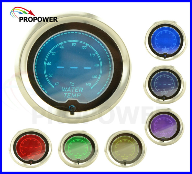 52mm 2inch LCD 7 Color Digital Water Temp Gauge Smoke Lens With Sensor 140C/AUTO GAUGE