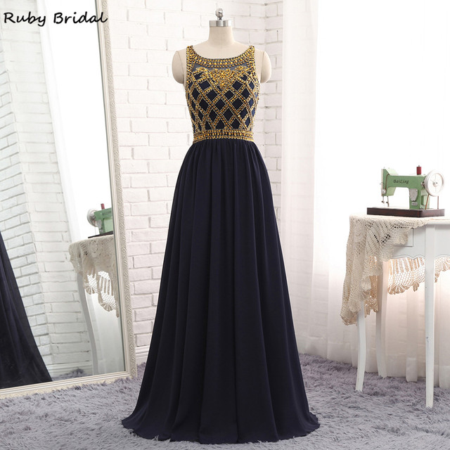 e681cfd507f Ruby Bridal Vestido De Festa Long Navy Blue Evening Dresses Chiffon Gold  Beads Luxury A-line Hot Cheap Party Prom Gown P114