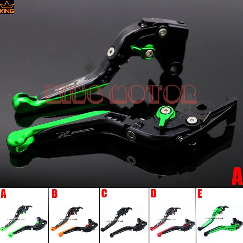 цены  For Kawasaki Z800 2013-2016 Motorcycle Accessories Adjustable Folding Extendable Brake Clutch Levers Black+Green
