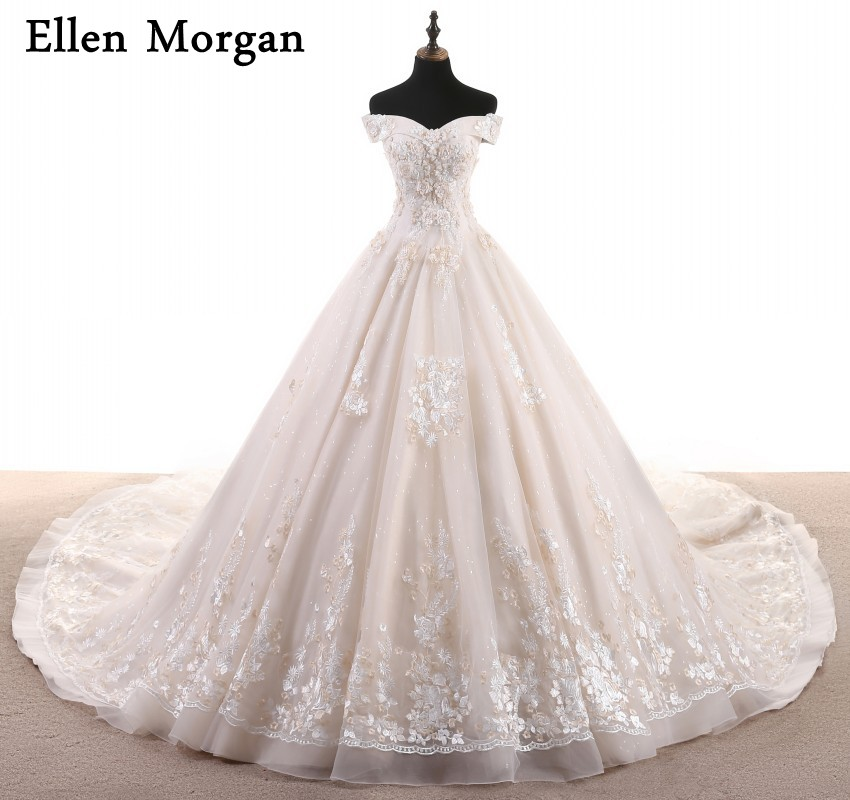 Vintage Cathedral Train Wedding Dresses 2018 Indian Real Photos Elegant Custom Made Jurken Ivory Lace Ball Gowns Bridal Gowns