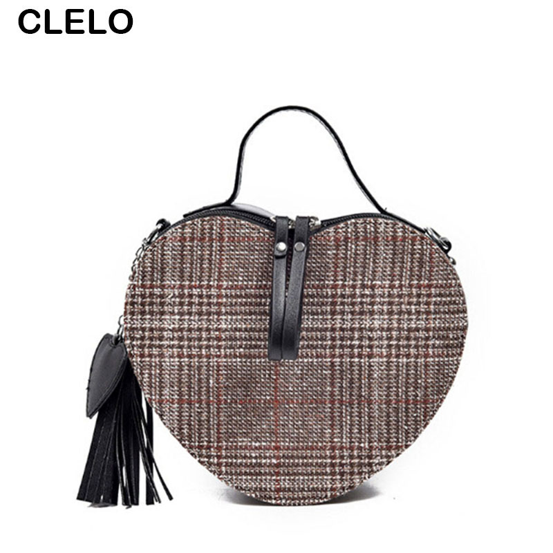 CLELO Heart Shape Fashion Pu Patchwork Clutch Women Handbags 2017 Mini Small Mobile Wallet Bag Female Shoulder Crossbody Bags