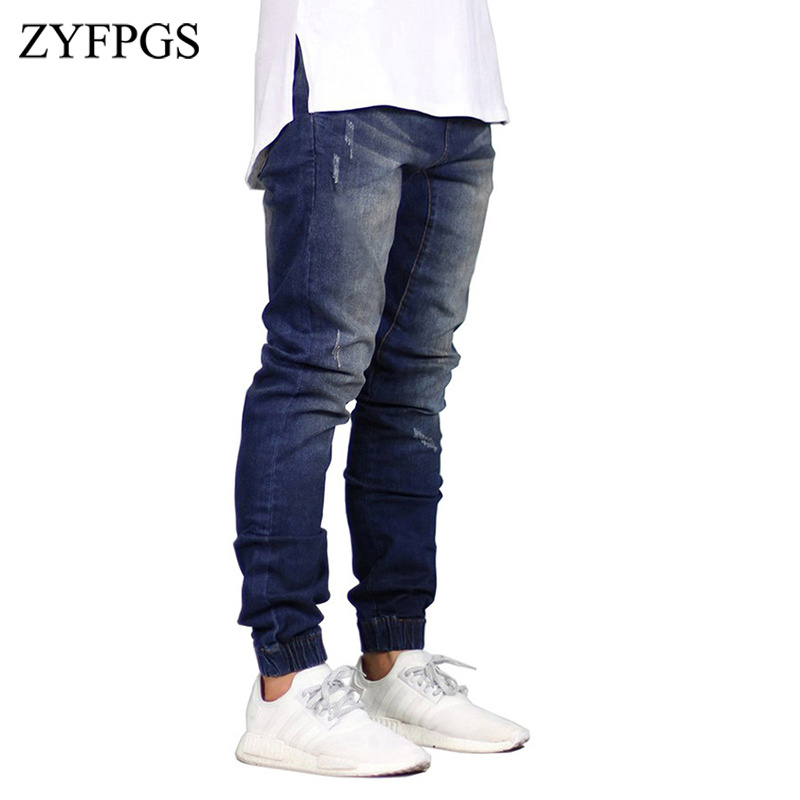 ZYFPGS New Men's Shinny Denim Distressed Jeans Stretch Men