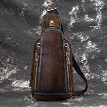 Genuine Leather Sling Rucksack Backpack Travel Knapsack Natural Skin High Quality Retro font b Men b