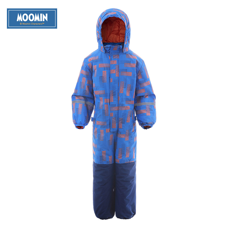 Moomin 2016 new winter overalls kids waterproof blue polyester Zipper Fly waterproof overalls kids warm girl overalls