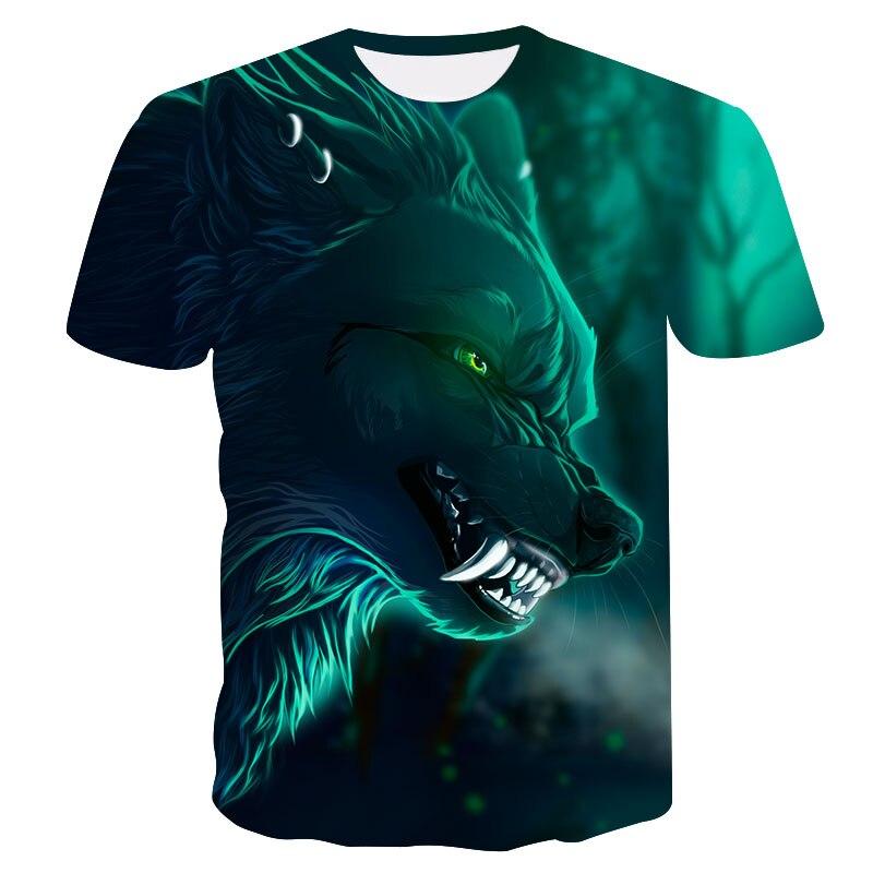 2018 Newest Harajuku Blue Light Wolf 3D Print Cool T-shirt Men/Women Short Sleeve Summer T Shirt Fashion Hip Hop Top Tee S-4XL