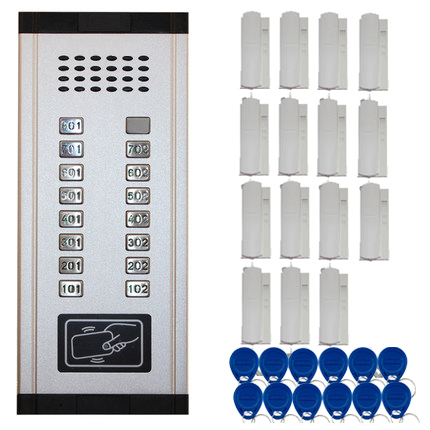 SMTVDP New Arrival Audio Door Phone Intercom System 15-apartments Audio Doorbell,New Design Indoor Unit ID Card Unlock Function