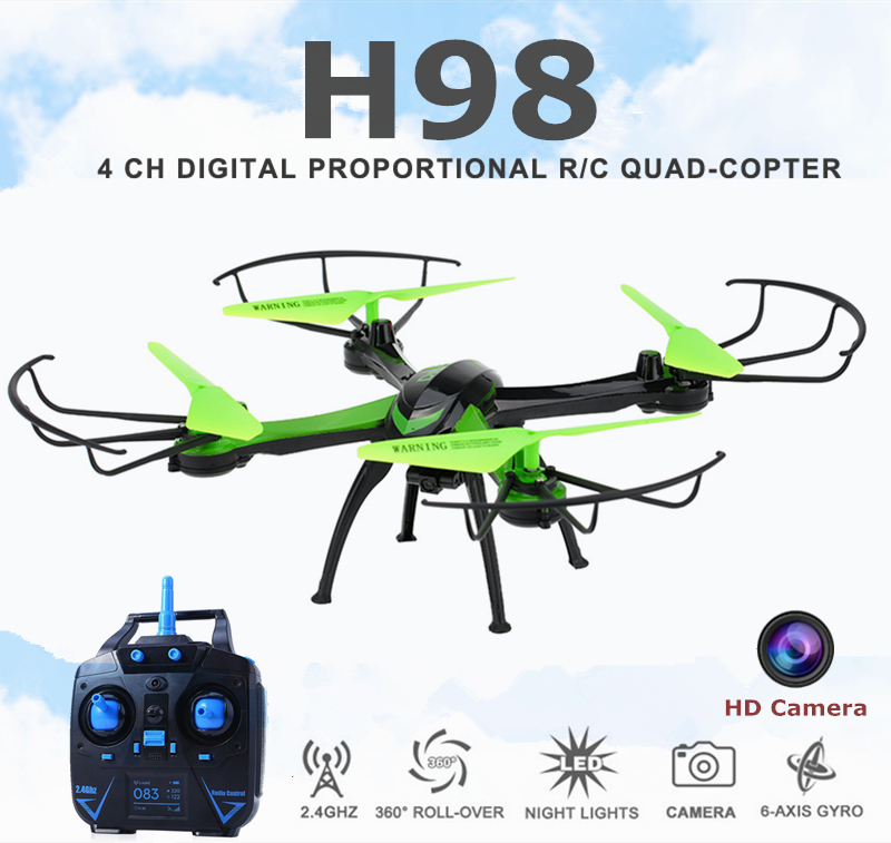 ФОТО Rc Quadcopter With Camera HD Mini Flying Camera Helicopter 2.4G 4CH Dron Headless Mode Copter Jjrc H98  Remote Control Drones