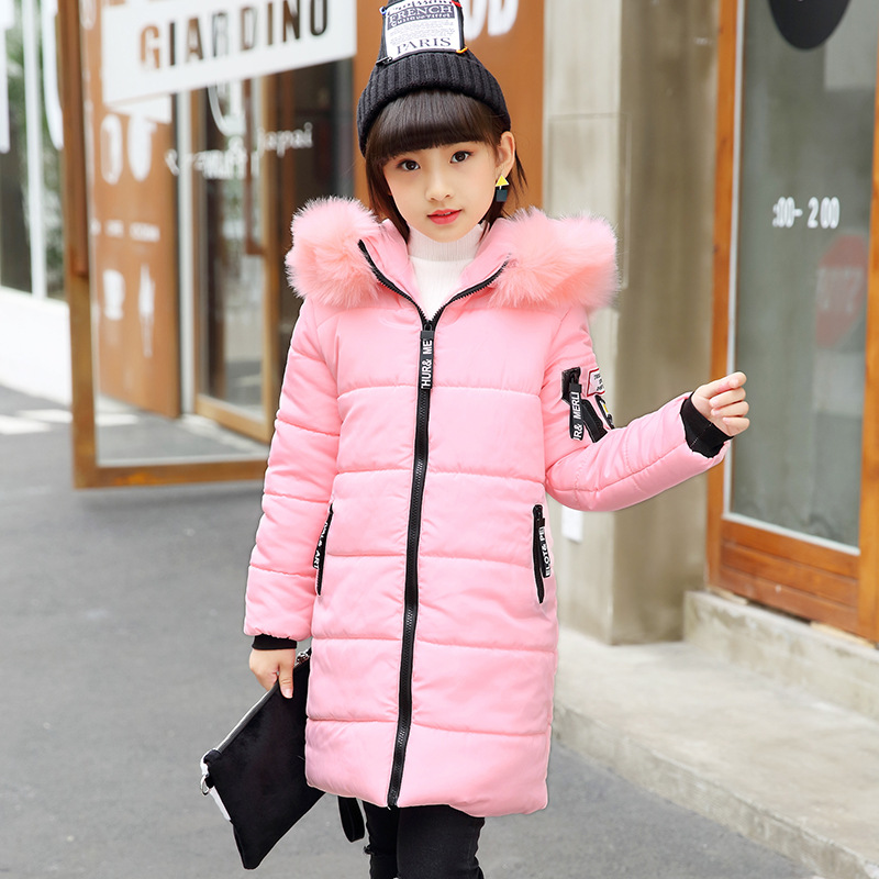 2018 New Girls Long Cotton Padded Jacket Children Winter Coat Kids Warm Thickening Hooded Down Cotton Coats for Teenage Outwear kulazopper large size women s winter hooded cotton coat 2018 new fashion down cotton padded jacket long female warm parka yl041