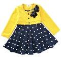 New 2016 Spring O Neck Long Sleeve Cotton Floral Applique Polka Dot Baby Girls Party Skater Dress Princess Kids Casual Dress