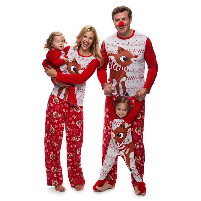 Family Christmas Pajamas Set Adult Girls Boys Mommy Sleepwear Nightwear Mother Daughter Clothes Matching Family Cartoon Outfits