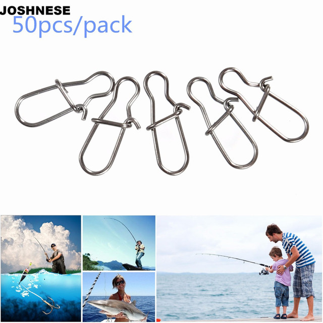 JOSHNESE 50pcs/lot High Quality Hook Lock Snap Swivel Solid Rings Safety Snaps Fishing Hooks Connector Stainless Steel