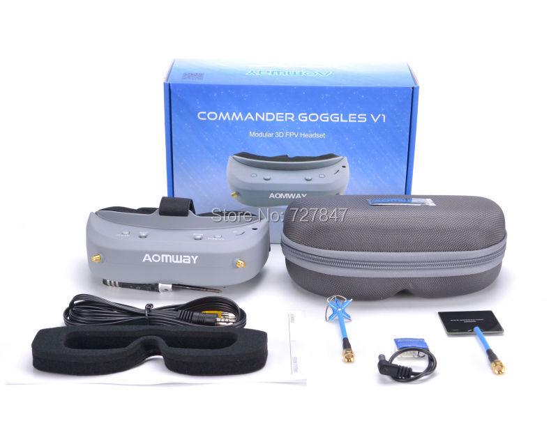 Aomway Commander FPV Goggles 40CH 5.8G 854 * 480 Resolusi FPV Video Headset Kacamata Dukungan HDMI DVR Headtracker