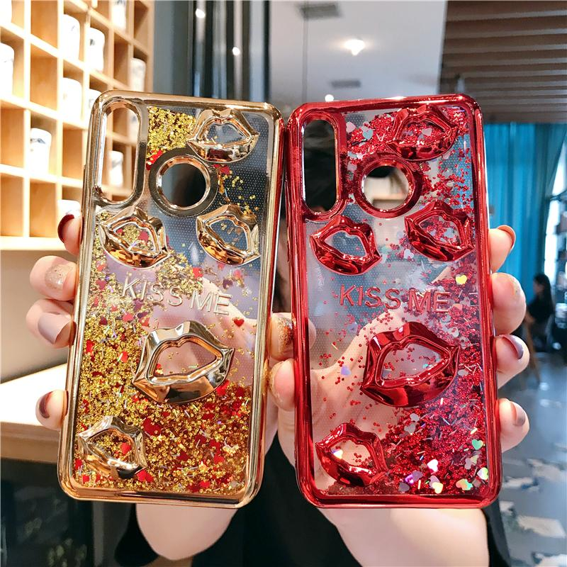 Liquid Soft Silicone Water Case <font><b>Sexy</b></font> Lip Mouth Glitter <font><b>Cover</b></font> for <font><b>Huawei</b></font> P30 <font><b>Pro</b></font> P10 P20 Lite P Smart Plus <font><b>Mate</b></font> <font><b>10</b></font> Lite Cases image
