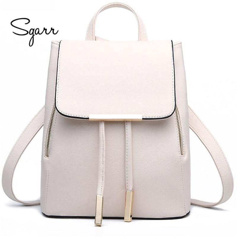 Sgarr School Teenage Backpack For Girls Vintage Waterproof Leather School Bags For Girls Black