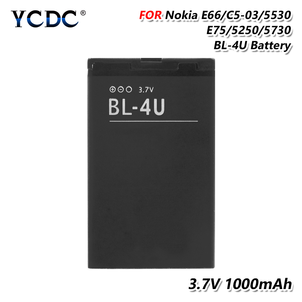 2019 Lithium 100% Brand New ! Rechargeable Lithium BL-4U BL 4U BL4U Battery For Nokia C5-03 C5-06 5250 530 3120C 6216C 6600S(China)