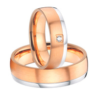 2015 classic new design titanium steel his and hers wedding bands promise rings sets for couples rose gold color alliances