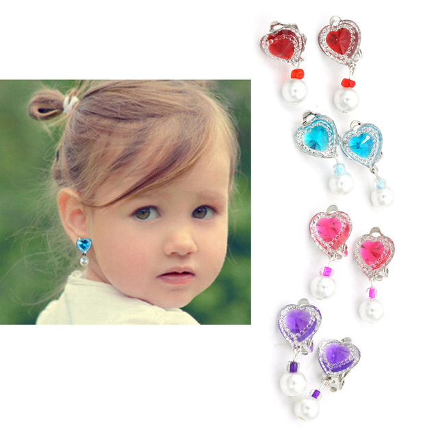 1 Pair Cute Children Crystal Jewelry Baby Earrings Kids Ear Clip No Piercing Imitation