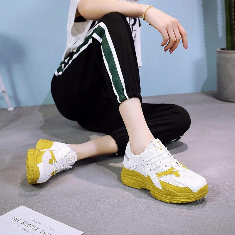 e16f239dbb48c9 Dame Bleu À Sneakers Lacets attaché Couleurs Plate Mélangées Femmes forme  Semelles Épaisses Pour Femme rose Croix Vulcaniser Chaussures ...