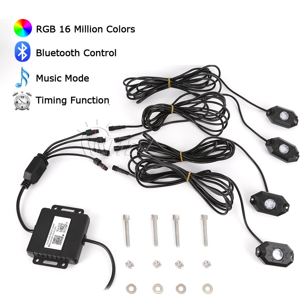 36w Multi-color RGB LED Rock Light Kits with Wireless Remote Control for Cars Truck 4x4 Jeep Mine Boat Neon Replacement 2000lb 12v electric winch for car jeep truck with synthetic rope remote control 12v dc winches 4x4
