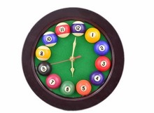 Round Creative Snooker Balls clock billiard ball Acessory club room decorated watches