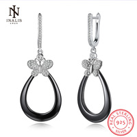 INALIS White Color Black Color Ceramics Earrings Butterfly Zircon 925 Sterling Silver Stud Earrings For Women