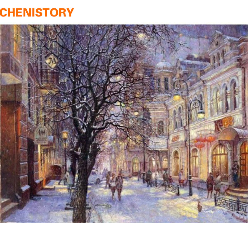 CHENISTORY Snow Scene Pictures Maalaus numeroiden mukaan Wall Art maisema DIY Canvas Oil Painting Home Decor olohuoneelle
